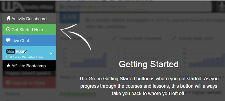 Activity Dashboard showing an arrow pointing to the green Getting Started image
