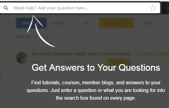 A white arrow pointing to the Get answers to your questions icon