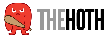 The Hoth logo made up of a red mascot clutching a club and beside it at right THEHOTH written in grey and black capital letters
