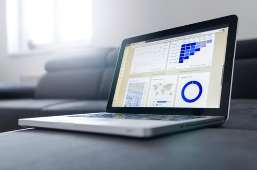 Graphs on a laptop screen to signify affiliate marketing