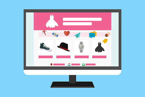 Drawing of an online shop showing articles on a website on a desktop screen