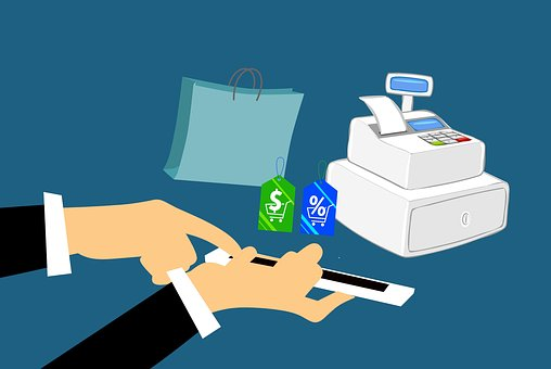 Shopping online image showing a cash register, a man tallying up sales, a shopping bag, etc.