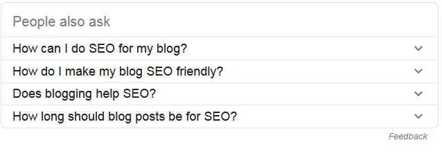"Google serp ""People also ask for"" for 37highly effective SEO tips for bloggers"