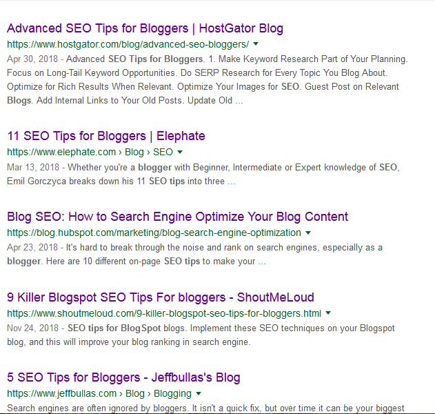 A Google serp for SEO tips for 37highly effective SEO tips for bloggers