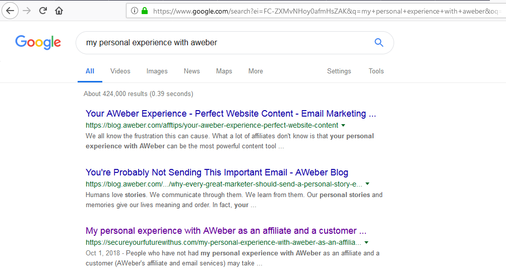 My expereince with AWeber post on serp