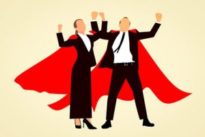 Super hero man and woman as part of I want to make you a super affiliate