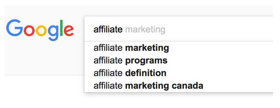 Affiliate keyword tresearch example phrase into Google with a bunch of instant, predictions
