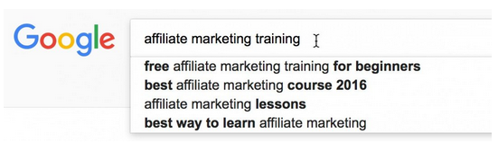 Affiliate marketing training keyword research results in Google.
