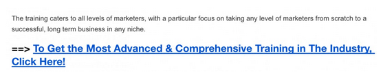 An example of Kyle's call-to-action link that he created within the training section on his review.