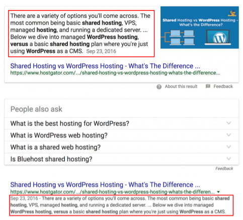 Featured snippet on SERP page for summary list of 37 highly effective SEO tips for bloggers