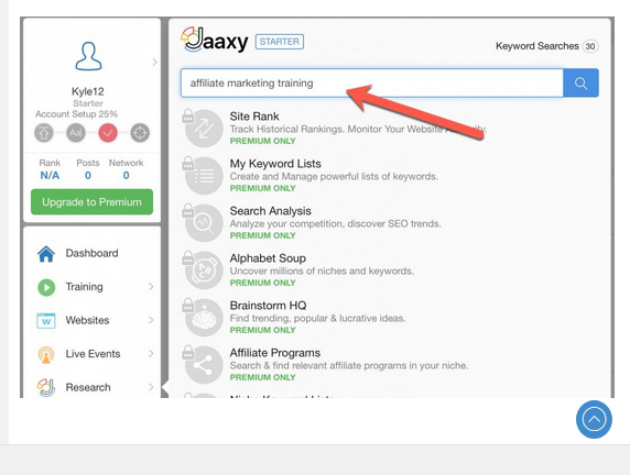 Jaaxy keyword research platform showing affiliate marketing training entered into the search