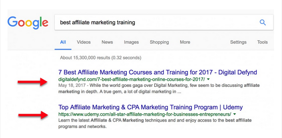 Pages ranked in Google natural search results for best affiliate marketing training.