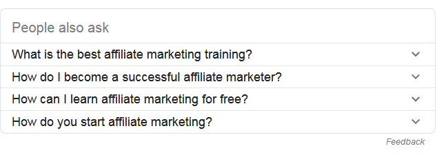 People also ask for results on Google search results page for affiliate marketing training