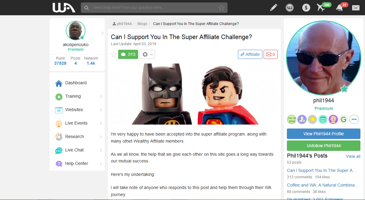 Phil1944's blog offering to help people accepted into 2020 affiliate challenge