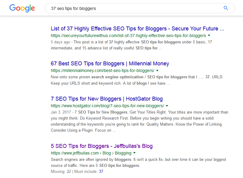 Google SERP for content post