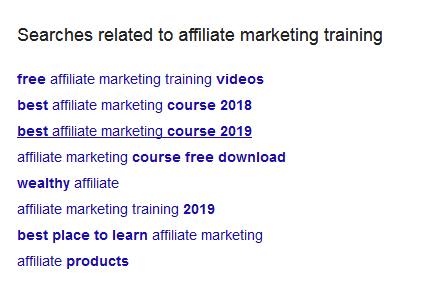 Searches related to affiliate marketing training down Google search results page