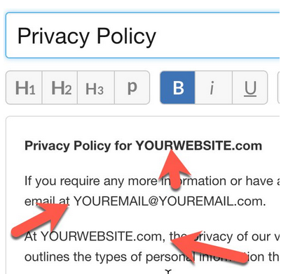 Site Content Privacy Policy publishing page showing H1, H2, H3 and P tags