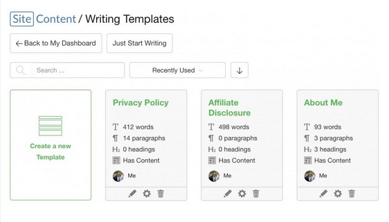 Site Content Writing Templates for About me, Privacy Policy and Affiliate disclosures