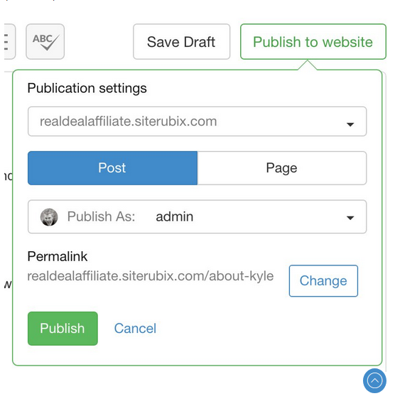 Site Content publish to website page showing Post and Page