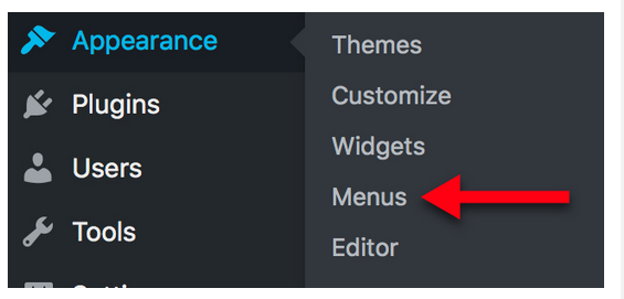 Under the Appearance, click the Menus sub heading.