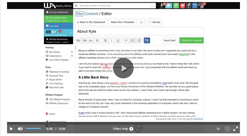 Wealthy Affiliate Video Creating Your Initial Framework of Content