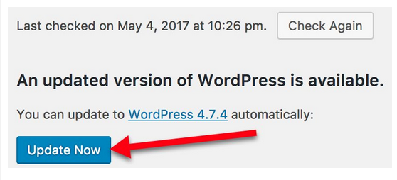Wordpress link to update to latest version