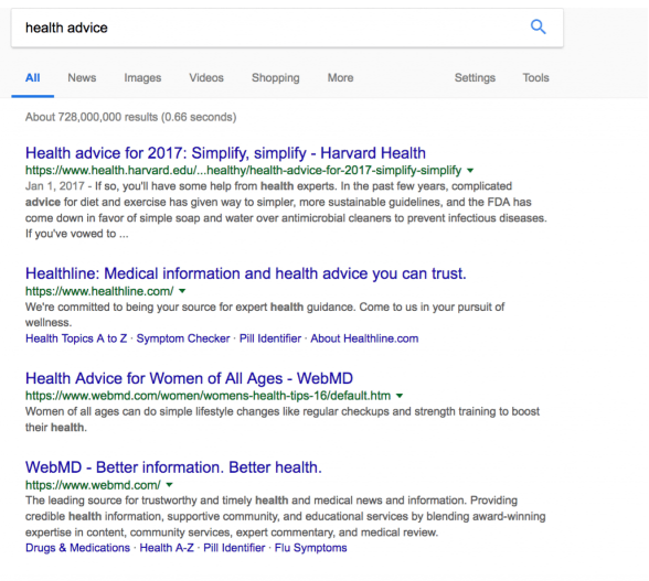 health advice results on a Google page