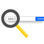 Microscope positioned on the word SEO as part of list of 37 highly effective SEO tips for bloggers