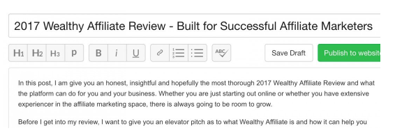 Title Kyle selected for his Wealthy Affiliate review post: 2017 Wealthy Affiliate Review - Built for successful affiliate marketers