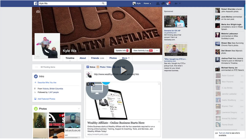 How to share Wealthy Affiliate links on Facebook video image link