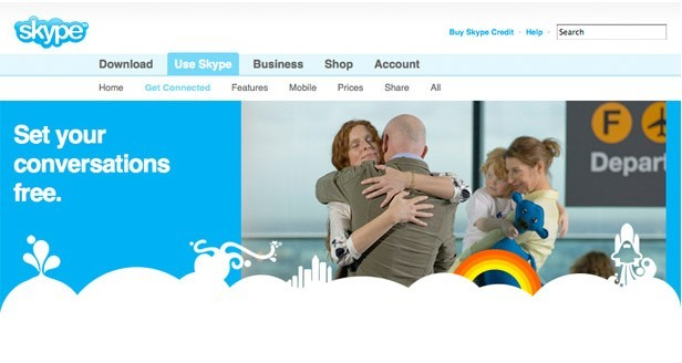 Skype homepage showing consistentbrand design