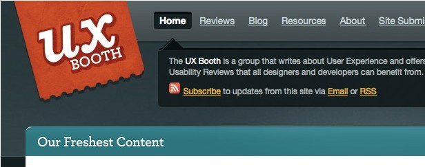 UX Booth homepage with logo