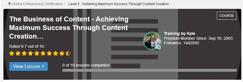 image Online entrepreneur Certification level 5 achieving maximum success through content creation