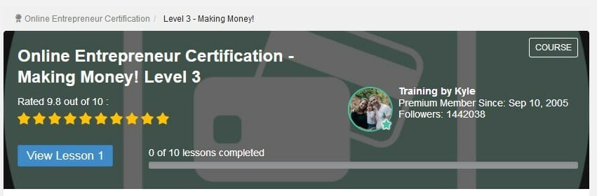 Online entrepreneur Certification level 3 making money.PNG to mean Can You Make Money with Wealthy Affiliate Without a Premium Membership?