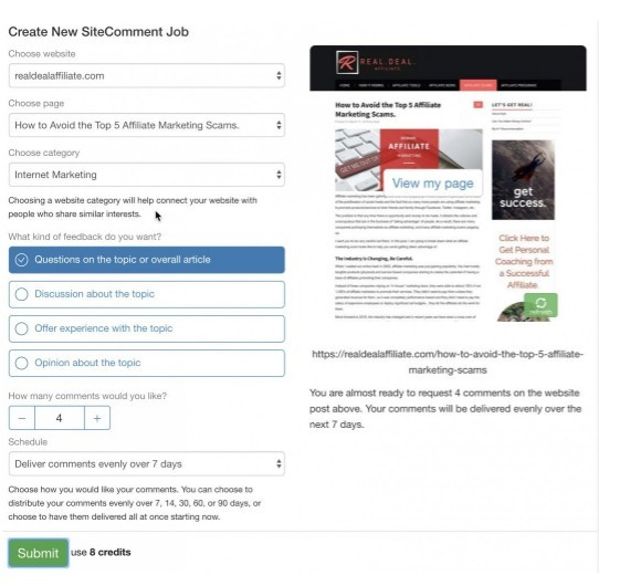 SiteComment interface for create new SiteComment job