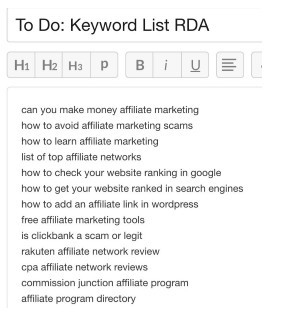 To do keyword list RDA showing a compiled list of keywords in How Can You Write Content Faster and More Efficiently