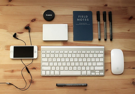 Keyboard, mobile phone, pen, notebook, etc. to signify 5 Tools for Collecting Interactive Data on content