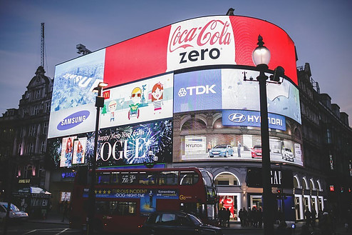 Lit outdoor advertising to signify Delivery methods of internet marketing