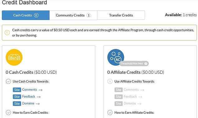 credit dashboard for Details of the 6 Wealthy Affiliate icons at the top of the dashboard