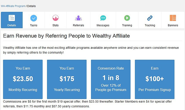 Earn revenue by referring people to wealthy affiliate