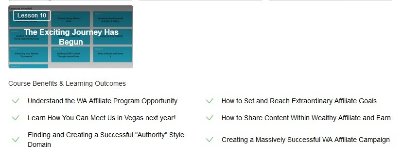 Rest of affiliate bootcamp plus course benefits and learning outcomes