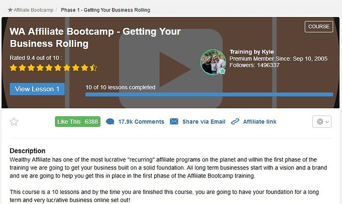 Wealthy Affiliate bootcamp-getting your business rolling