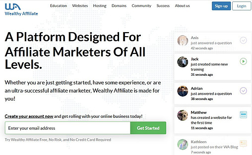 Wealthy Affiliate homepage showing what the platform is to signify FAQ's About Wealthy Affiliate – Part I: Home