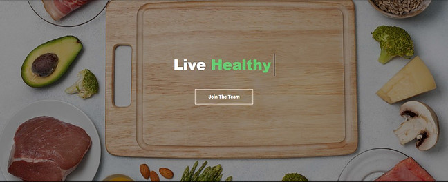 Meat, fruits and vegetables laid around a cutting tray with inscription Live Healthy to signify Enersource International review