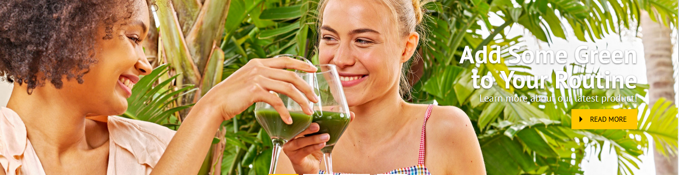 Two women taking some green drink as forever living aloe vera products
