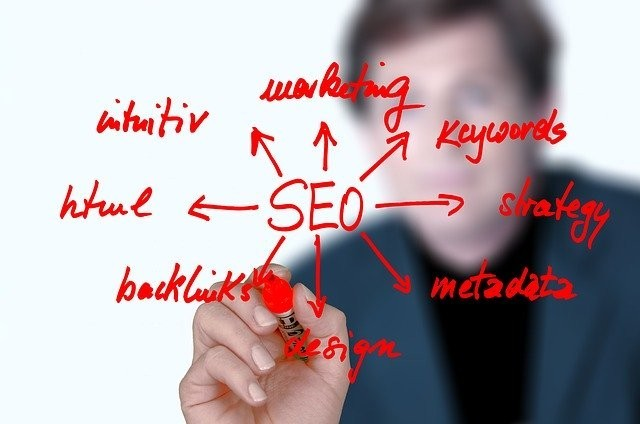 SEO with a man using red marker to link it to words such as html, keywords, backlink, etc to signify 5 Linking Strategy Tips to Increase Website Traffic for Your Mlm Business