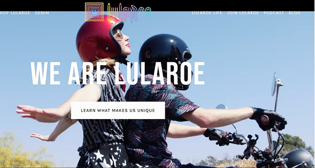 We are lularoe os man and woman riding a motorbike