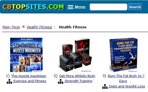 CBTopSites showing some health and fitness products