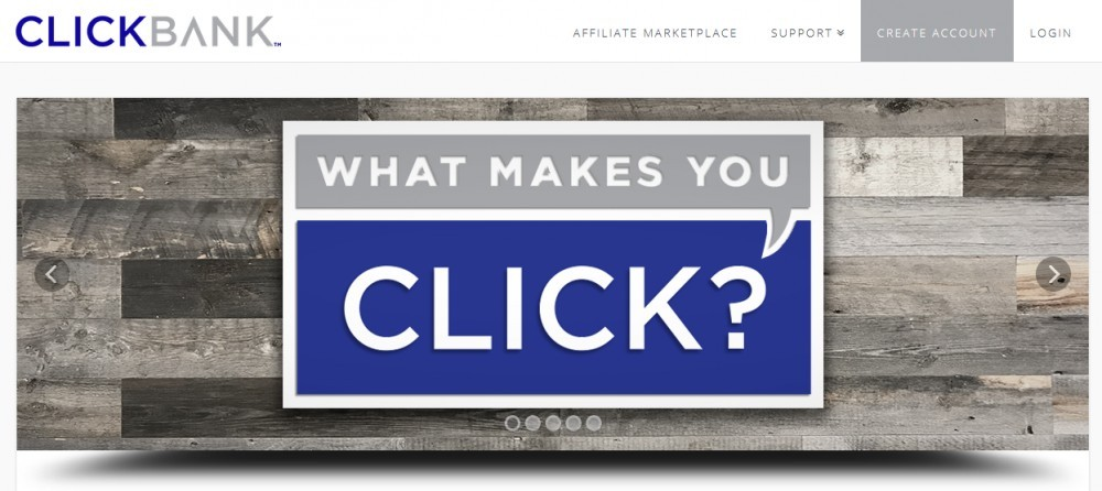 Clickbank logo with words What makes you click?
