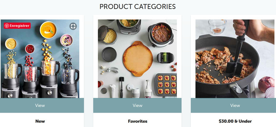 Pampered Chef product categories showing new, favorites and $30 and under